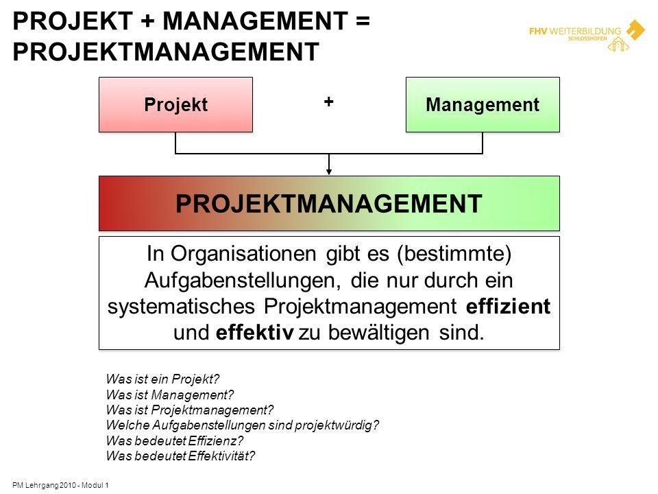 Projekt + Management = Projektmanagement