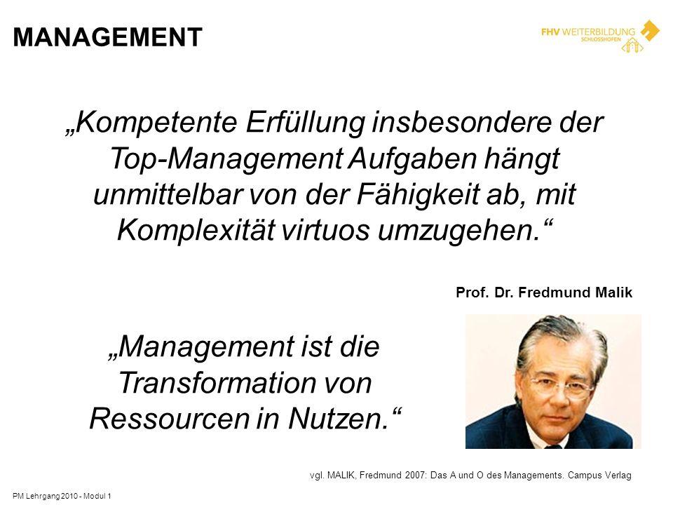 """""""Management ist die Transformation von Ressourcen in Nutzen."""