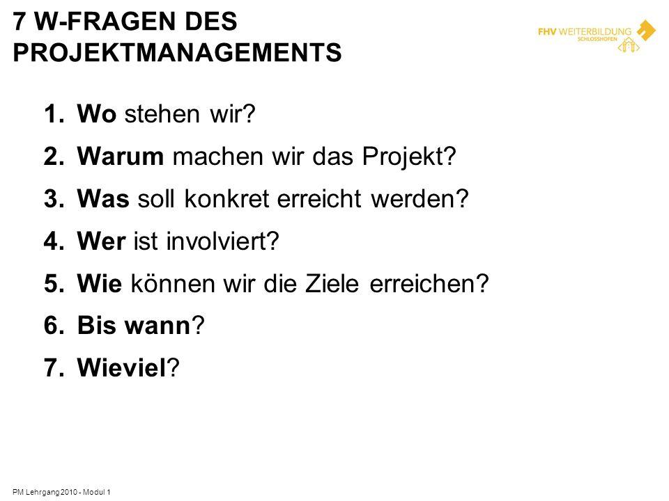 7 W-Fragen des Projektmanagements