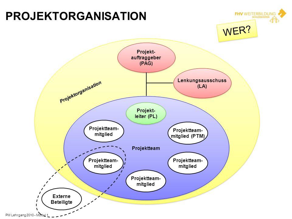 Projektorganisation WER Projekt- auftraggeber (PAG) Lenkungsausschuss