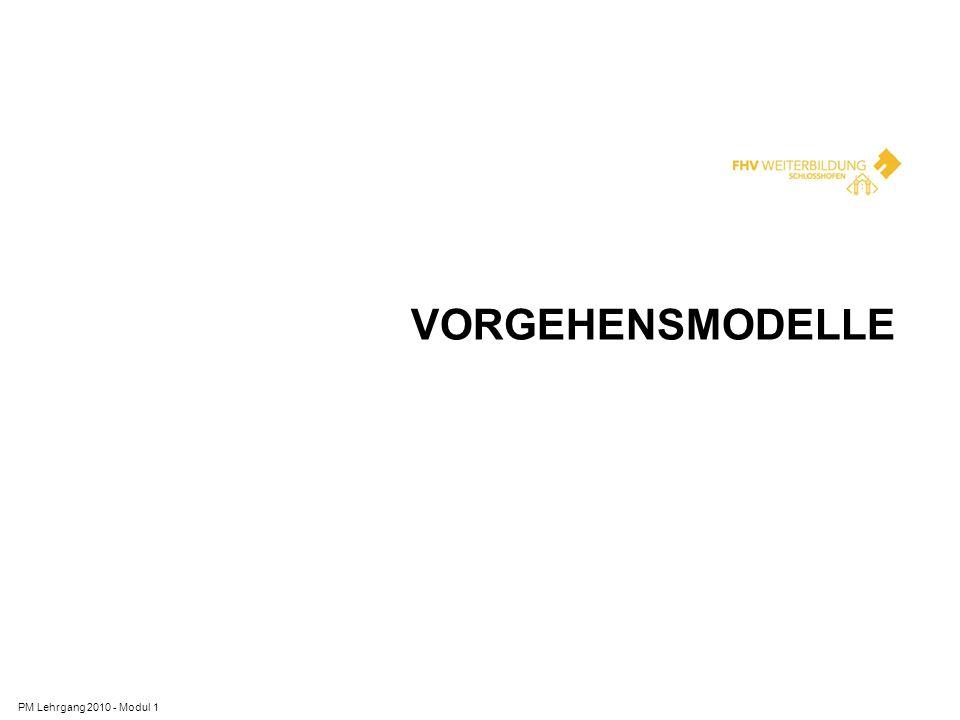 Vorgehensmodelle PM Lehrgang 2010 - Modul 1