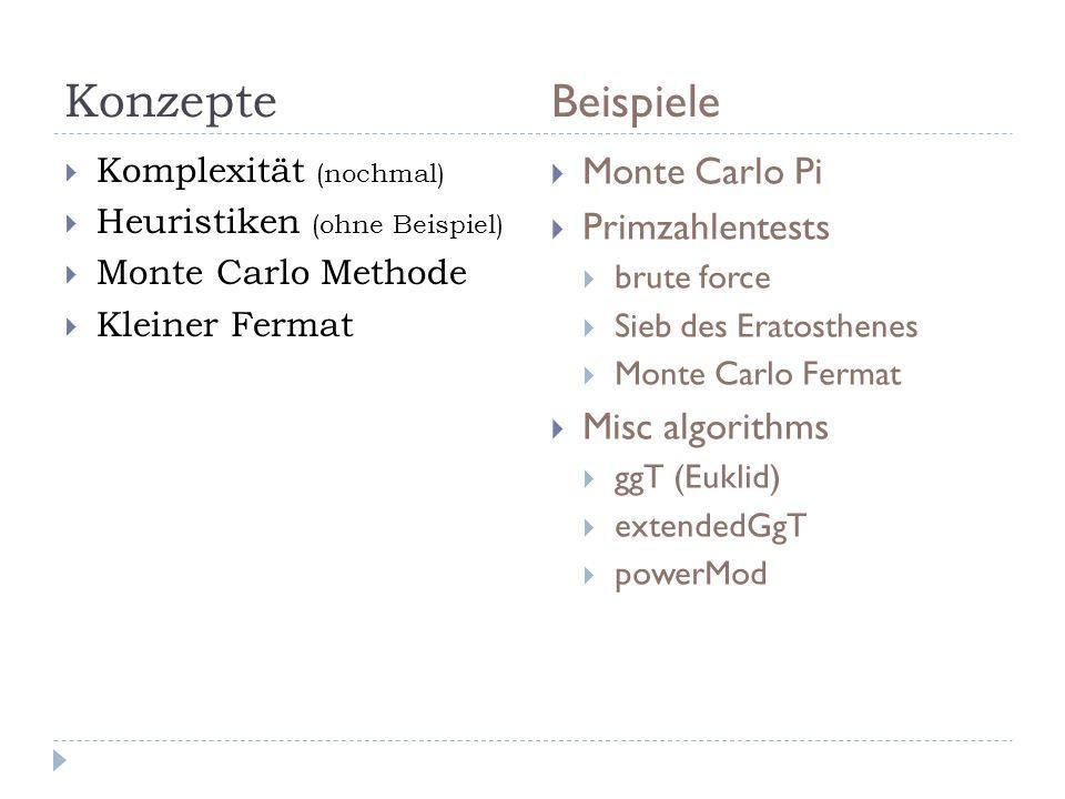 Konzepte Beispiele Monte Carlo Pi Primzahlentests Misc algorithms