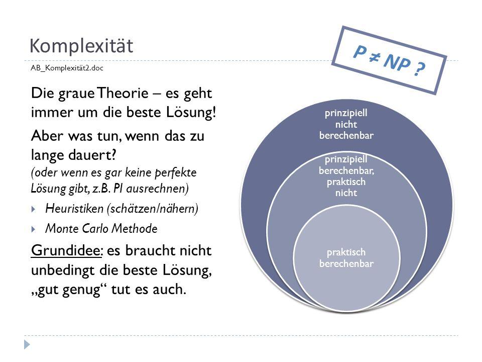 Komplexität P ≠ NP AB_Komplexität2.doc. Die graue Theorie – es geht immer um die beste Lösung!