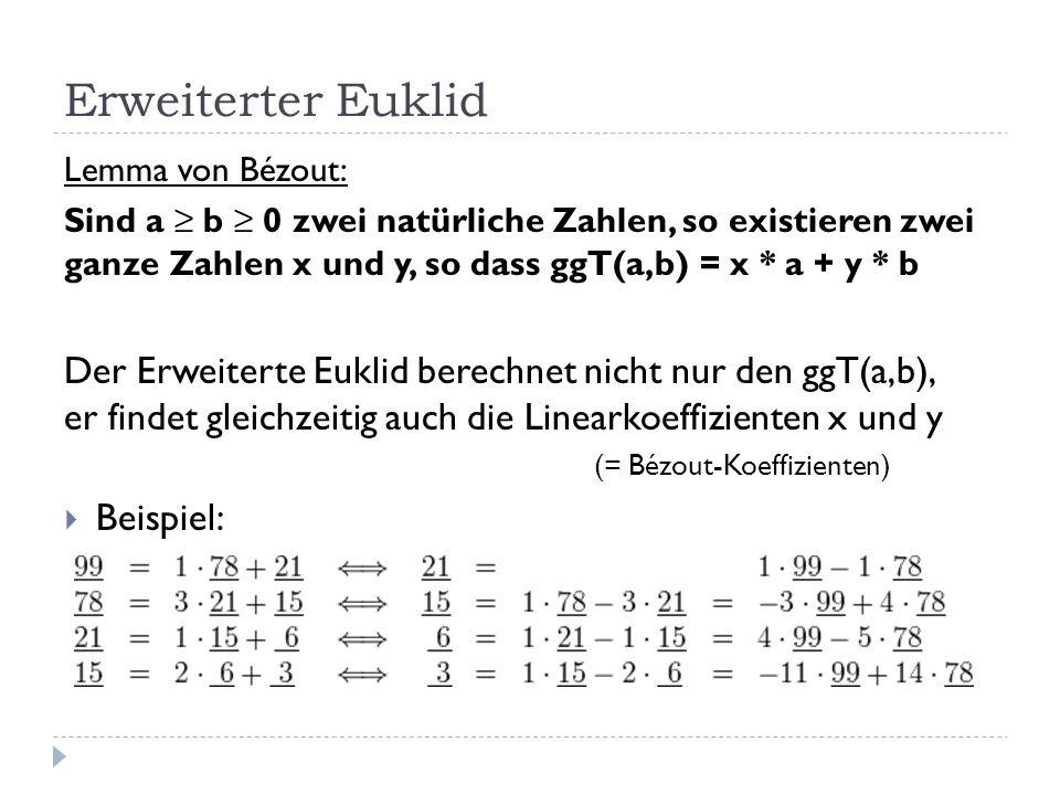 Erweiterter Euklid Lemma von Bézout: