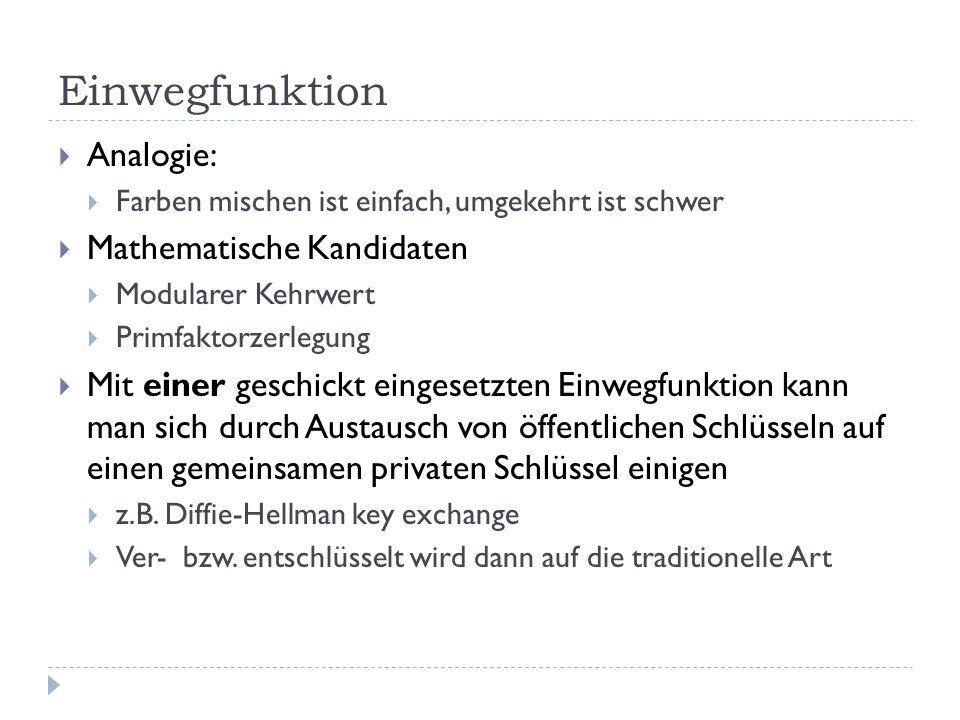 Einwegfunktion Analogie: Mathematische Kandidaten
