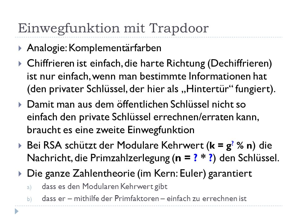Einwegfunktion mit Trapdoor