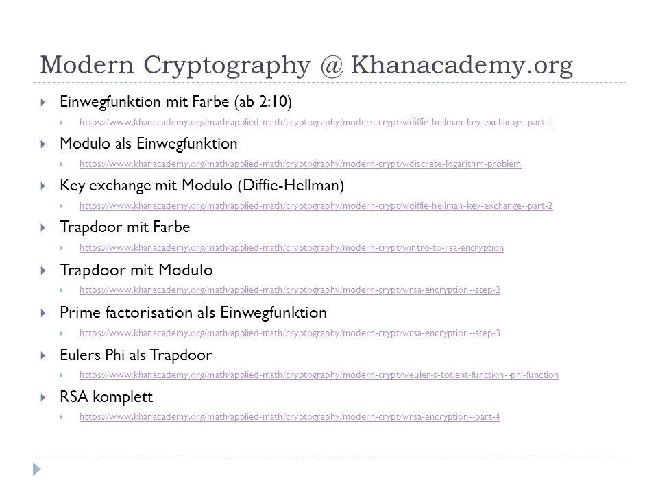 Modern Cryptography @ Khanacademy.org