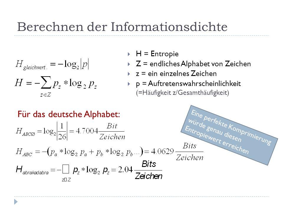 Berechnen der Informationsdichte