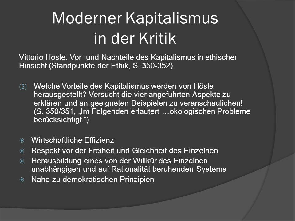 Moderner Kapitalismus in der Kritik