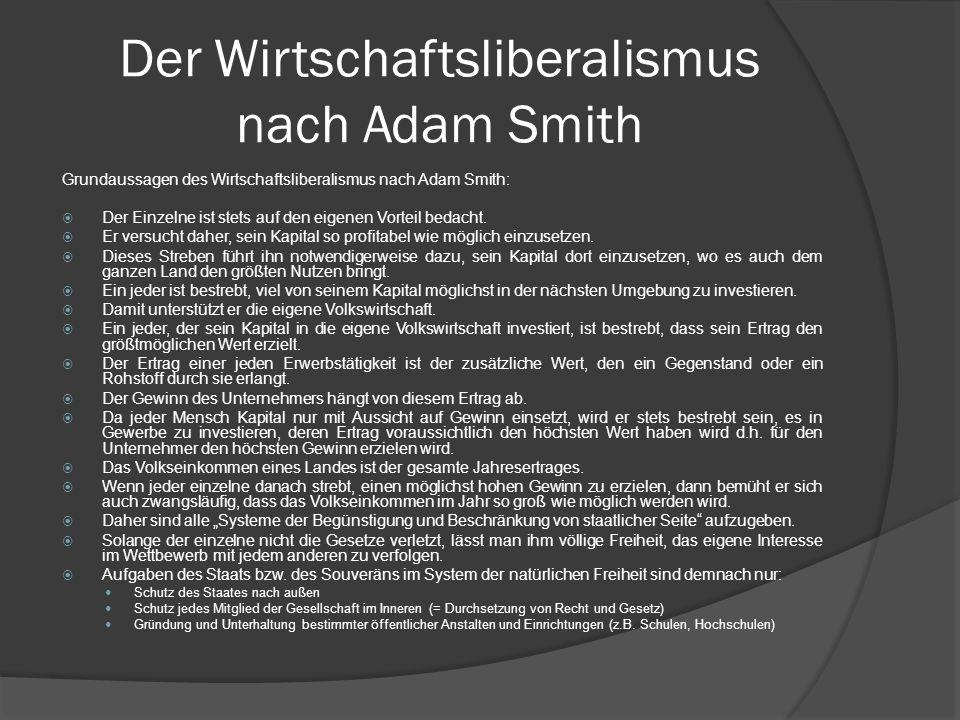 Der Wirtschaftsliberalismus nach Adam Smith