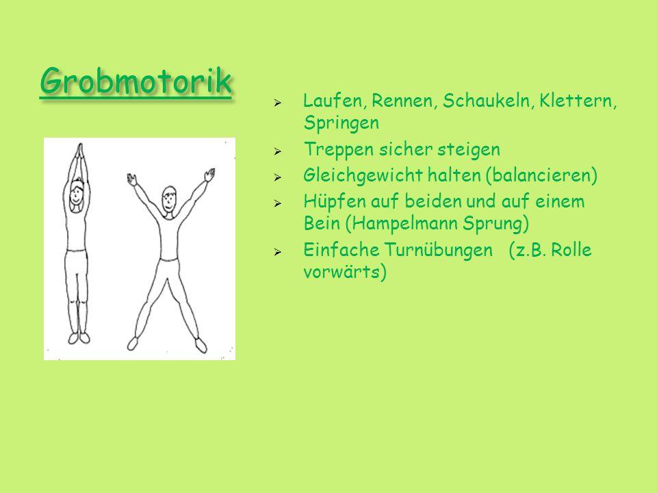 Grobmotorik Laufen, Rennen, Schaukeln, Klettern, Springen