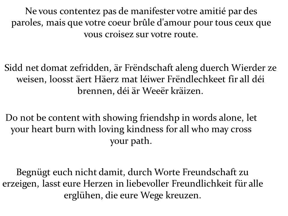 Ne vous contentez pas de manifester votre amitié par des paroles, mais que votre coeur brûle d amour pour tous ceux que vous croisez sur votre route.