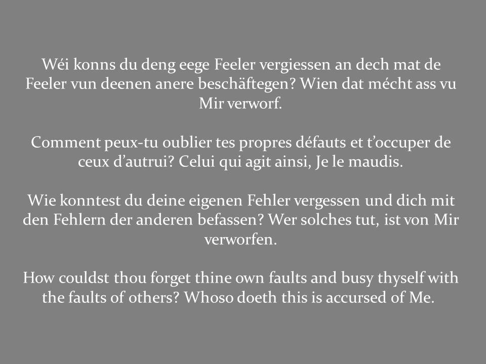 Wéi konns du deng eege Feeler vergiessen an dech mat de Feeler vun deenen anere beschäftegen Wien dat mécht ass vu Mir verworf.