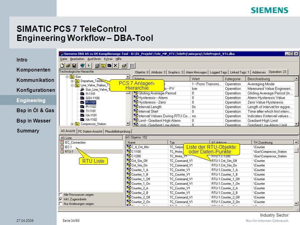 SIMATIC PCS 7 TeleControl Engineering Workflow – DBA-Tool