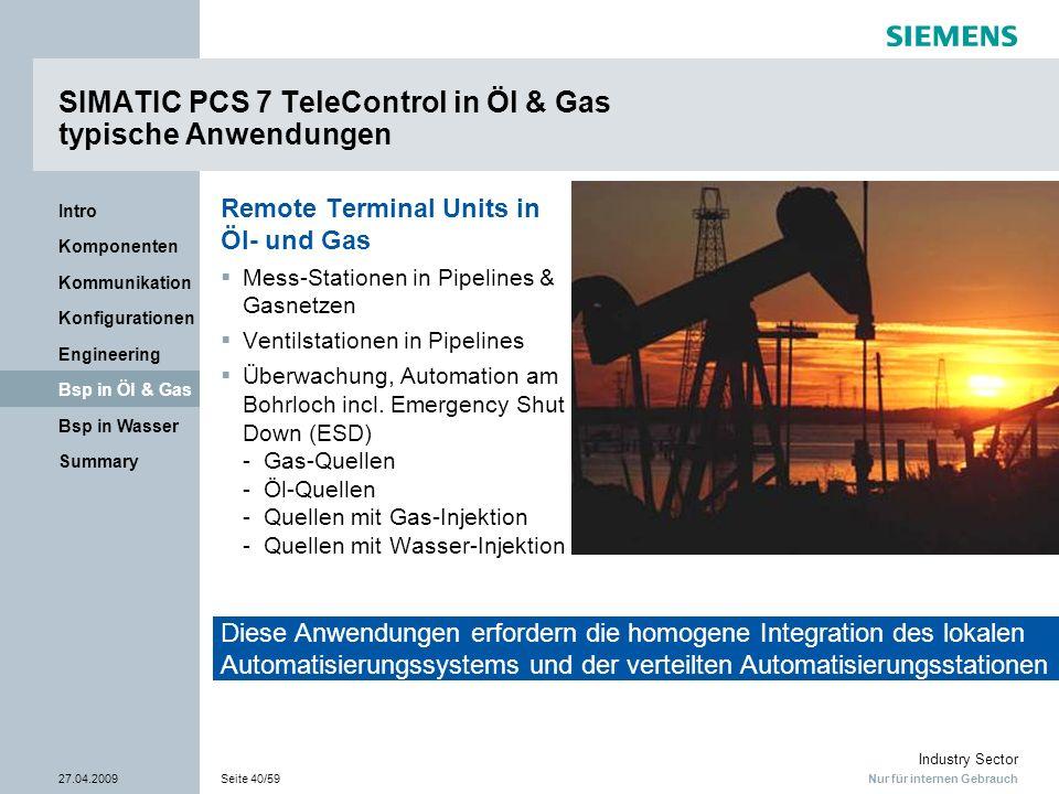 SIMATIC PCS 7 TeleControl in Öl & Gas typische Anwendungen