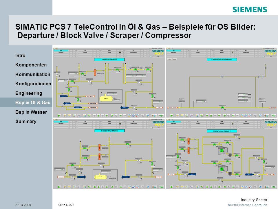 SIMATIC PCS 7 TeleControl in Öl & Gas – Beispiele für OS Bilder: Departure / Block Valve / Scraper / Compressor