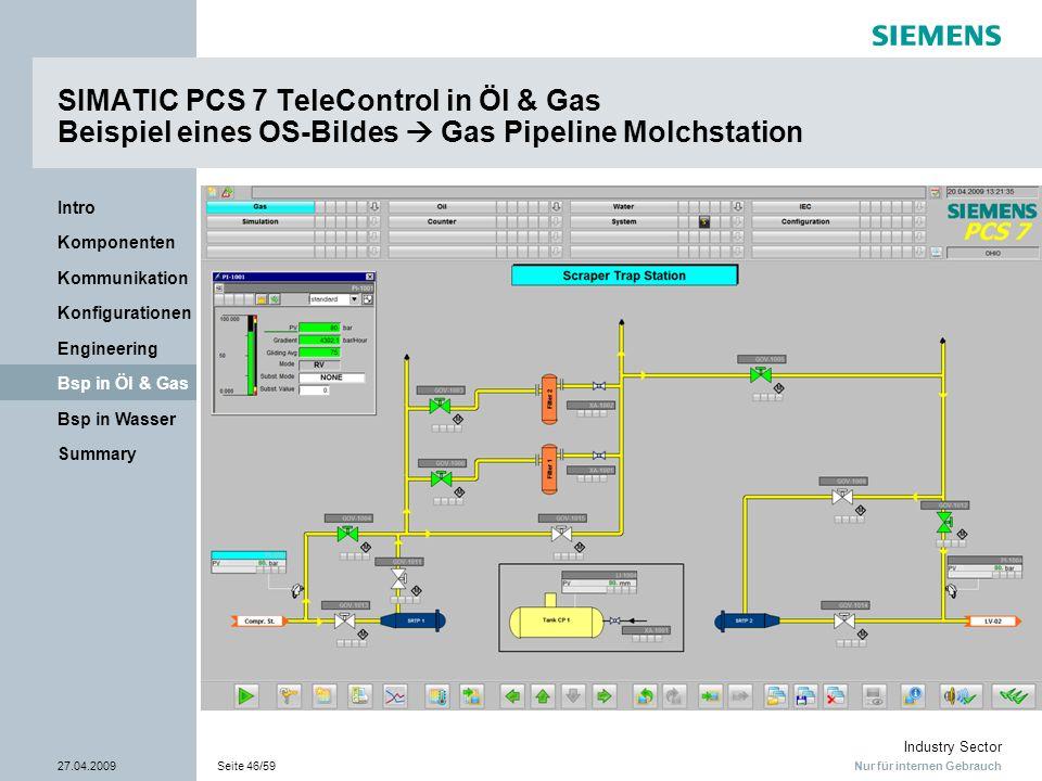 SIMATIC PCS 7 TeleControl in Öl & Gas Beispiel eines OS-Bildes  Gas Pipeline Molchstation