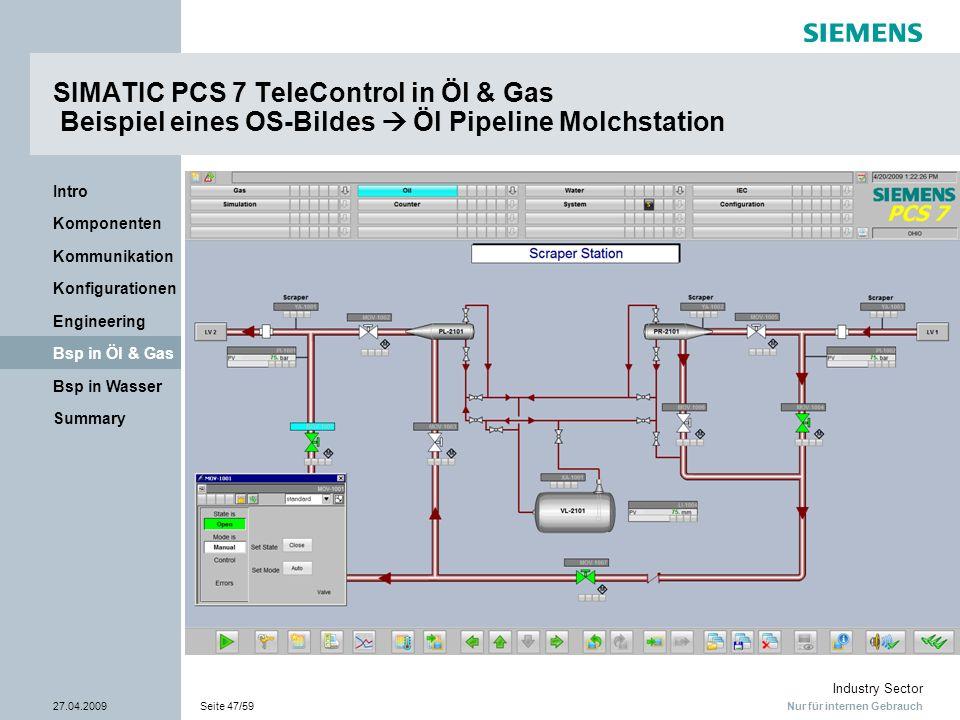SIMATIC PCS 7 TeleControl in Öl & Gas Beispiel eines OS-Bildes  Öl Pipeline Molchstation