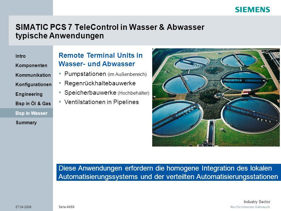 SIMATIC PCS 7 TeleControl in Wasser & Abwasser typische Anwendungen