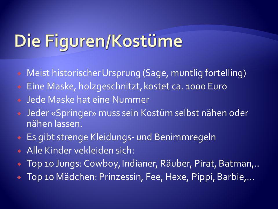 Die Figuren/Kostüme Meist historischer Ursprung (Sage, muntlig fortelling) Eine Maske, holzgeschnitzt, kostet ca. 1000 Euro.