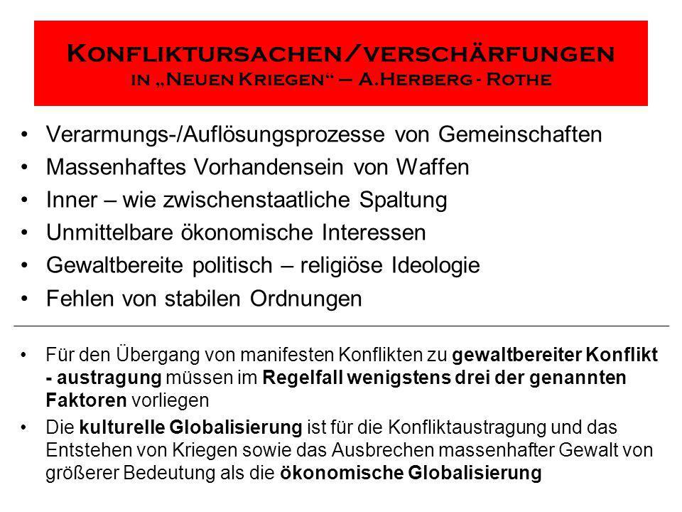 """Konfliktursachen/verschärfungen in """"Neuen Kriegen – A.Herberg - Rothe"""