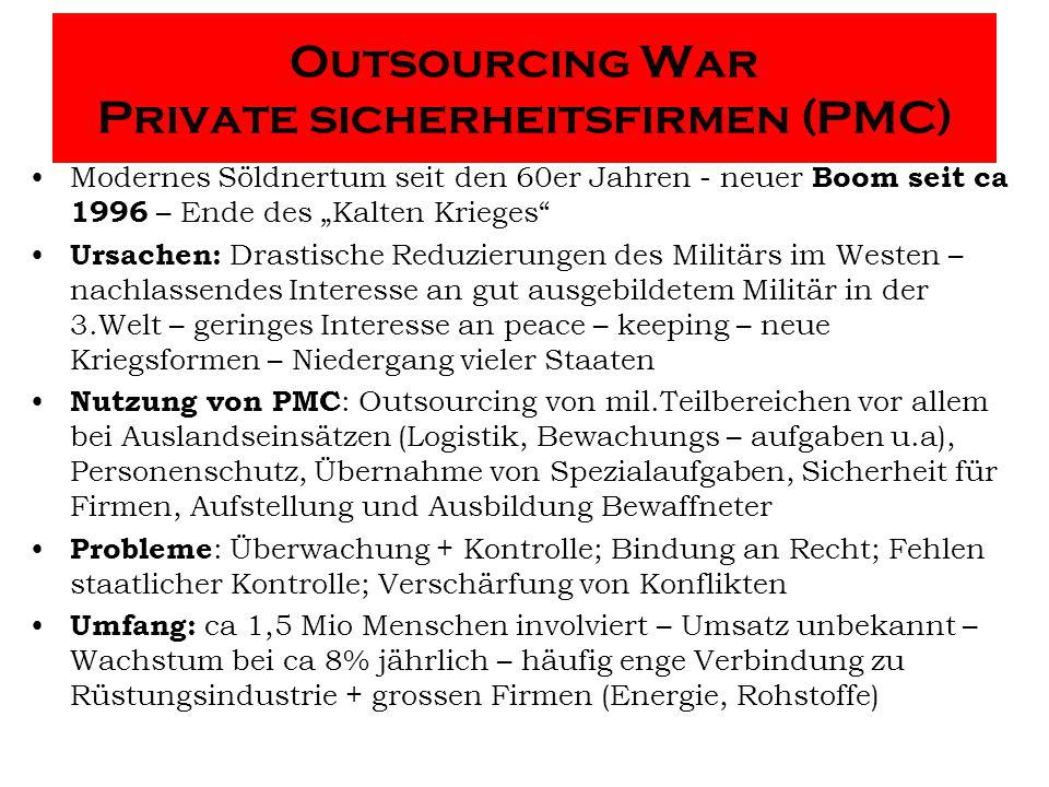 Outsourcing War Private sicherheitsfirmen (PMC)