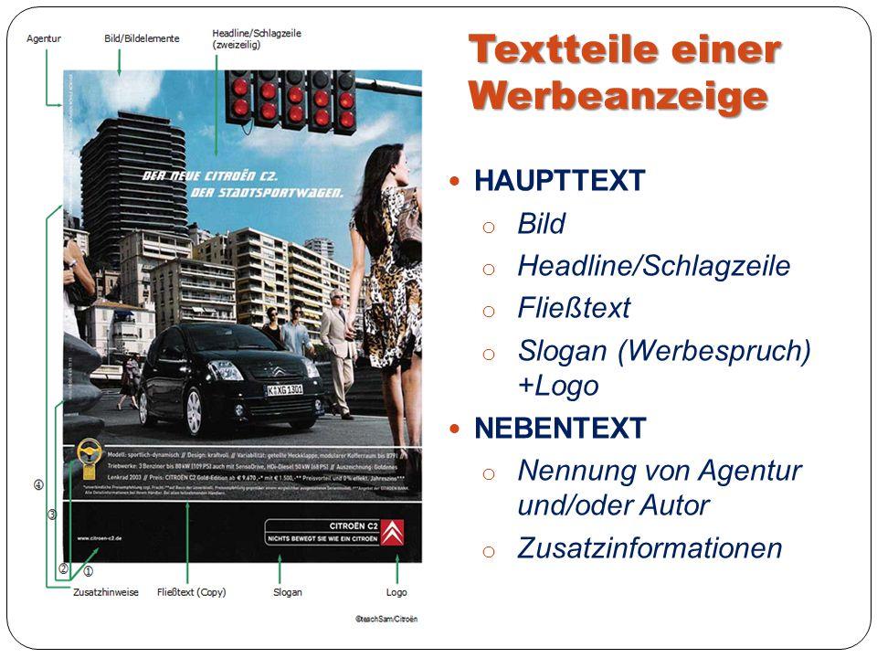 Textteile einer Werbeanzeige