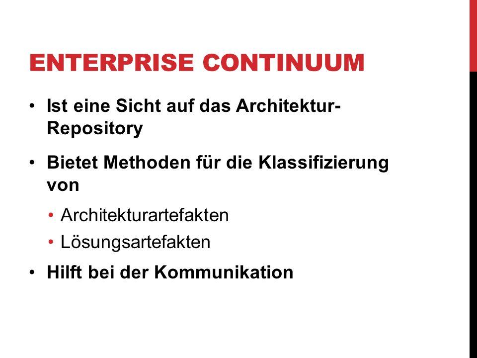 Enterprise Continuum Ist eine Sicht auf das Architektur- Repository