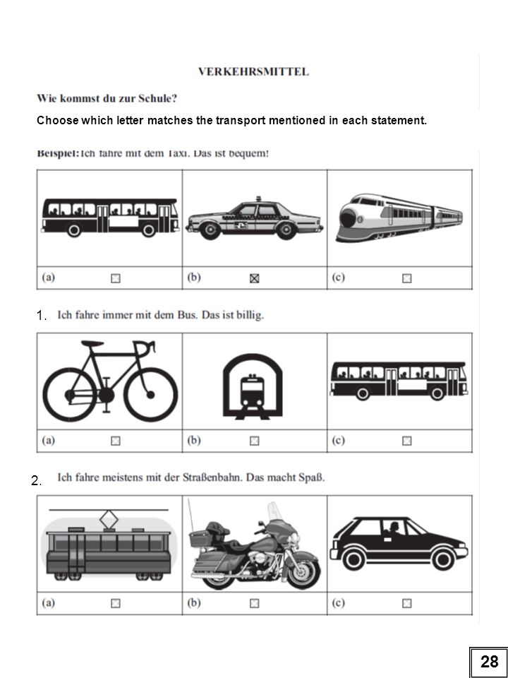 Choose which letter matches the transport mentioned in each statement.