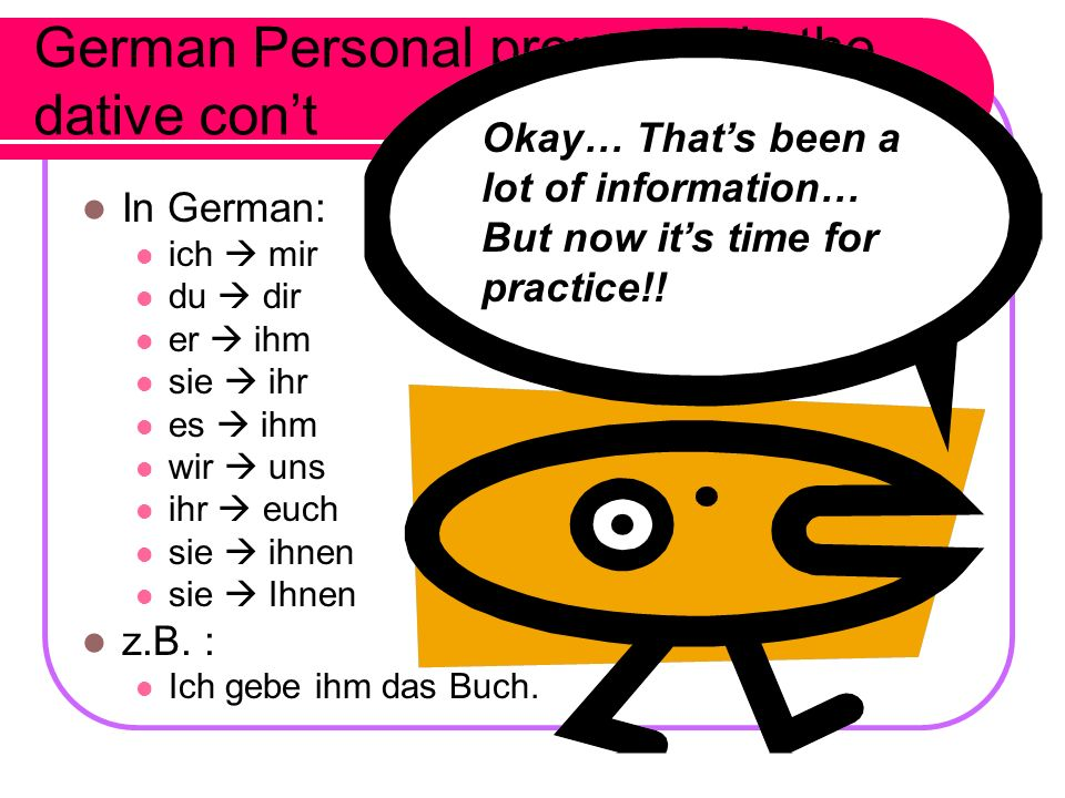 German Personal pronouns in the dative con't