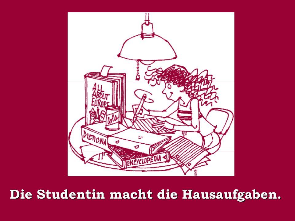 Die Studentin macht die Hausaufgaben.