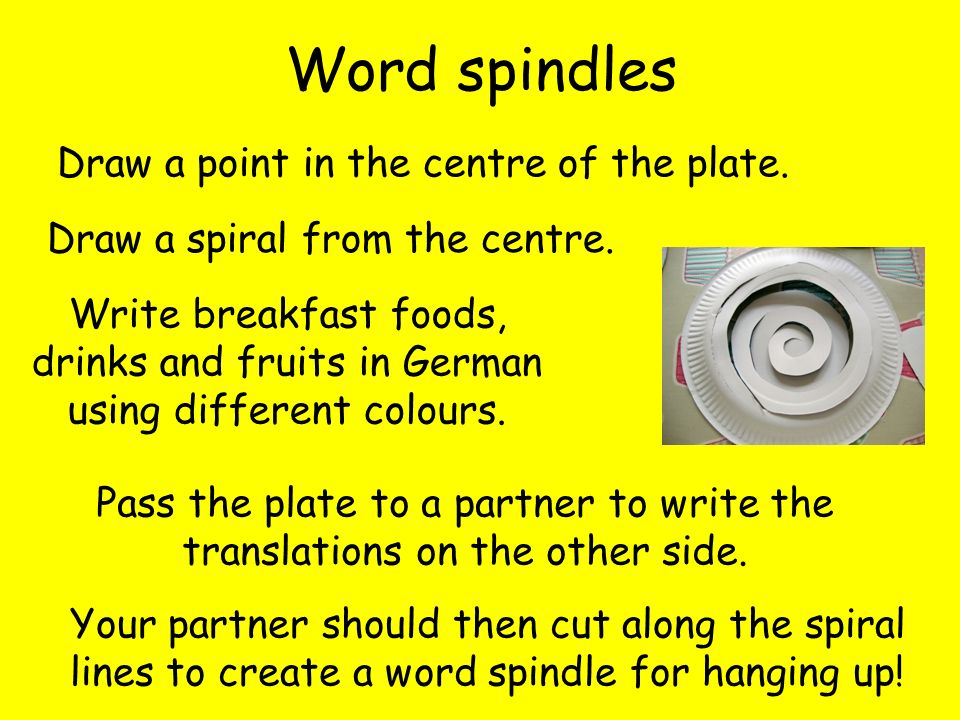 Word spindles Draw a point in the centre of the plate.