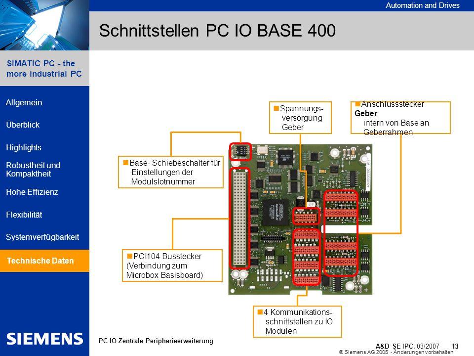 Schnittstellen PC IO BASE 400