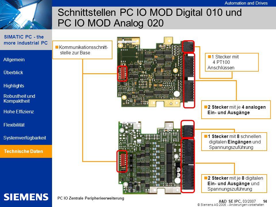 Schnittstellen PC IO MOD Digital 010 und PC IO MOD Analog 020