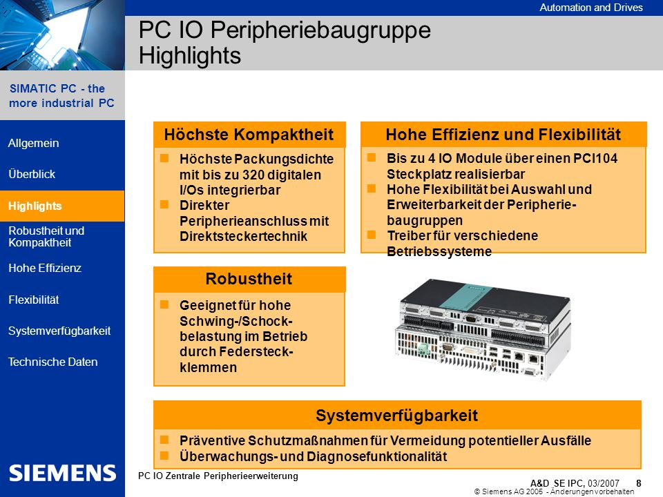 PC IO Peripheriebaugruppe Highlights