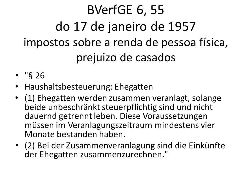 BVerfGE 6, 55 do 17 de janeiro de 1957 impostos sobre a renda de pessoa física, prejuizo de casados