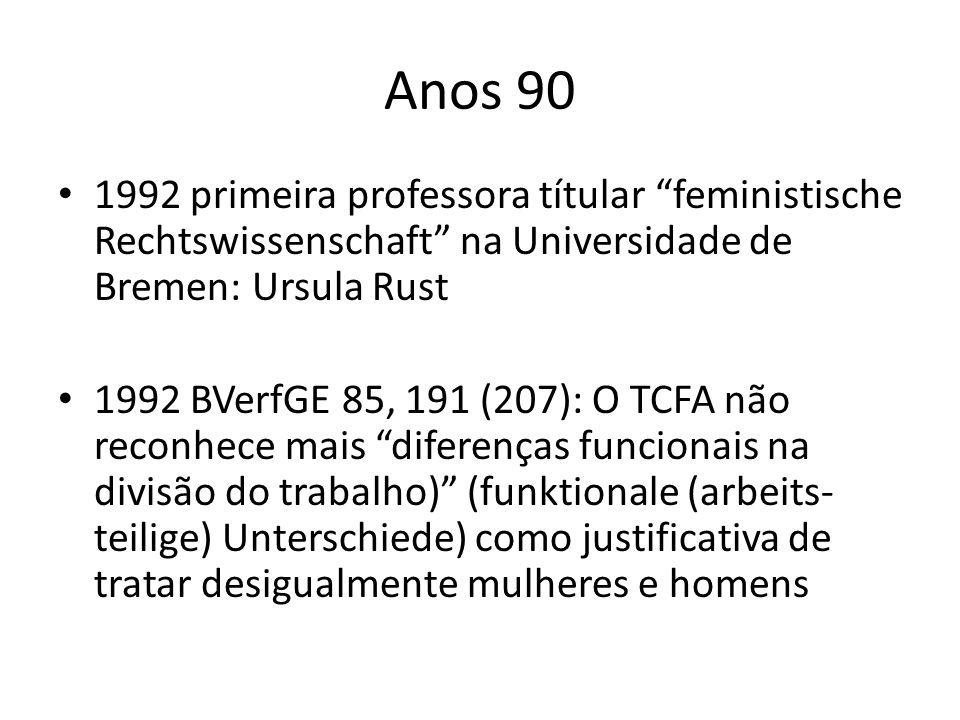 Anos 90 1992 primeira professora títular feministische Rechtswissenschaft na Universidade de Bremen: Ursula Rust.