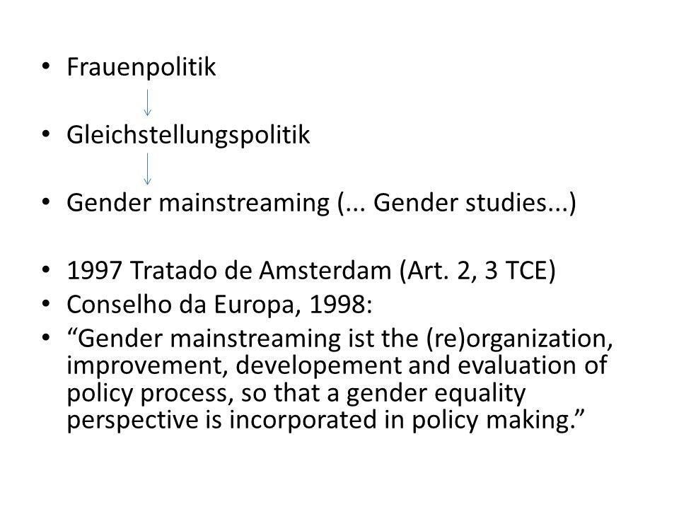Frauenpolitik Gleichstellungspolitik. Gender mainstreaming (... Gender studies...) 1997 Tratado de Amsterdam (Art. 2, 3 TCE)