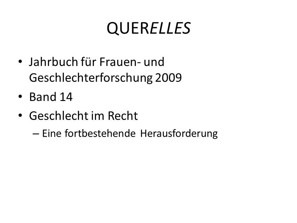 QUERELLES Jahrbuch für Frauen- und Geschlechterforschung 2009 Band 14