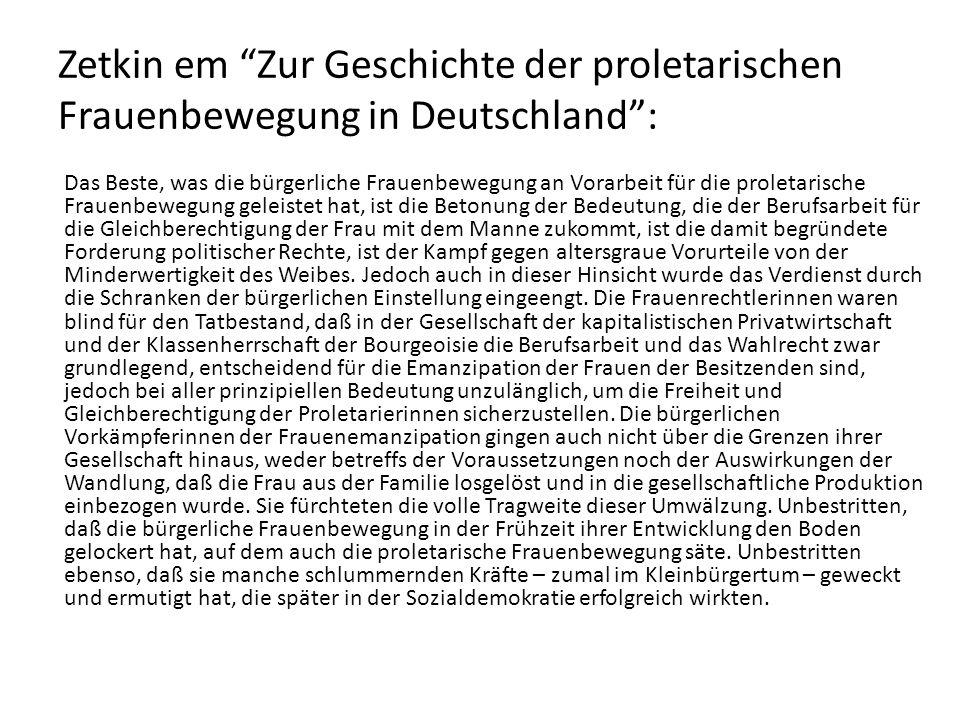 Zetkin em Zur Geschichte der proletarischen Frauenbewegung in Deutschland :