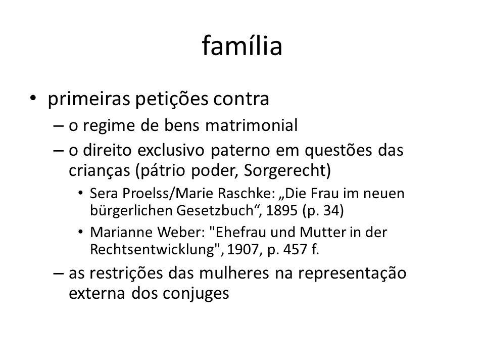 família primeiras petições contra o regime de bens matrimonial