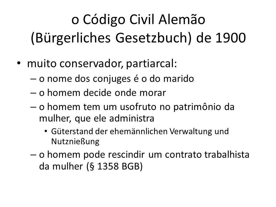 o Código Civil Alemão (Bürgerliches Gesetzbuch) de 1900