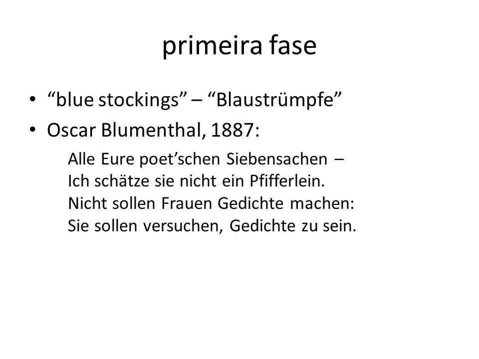 primeira fase blue stockings – Blaustrümpfe