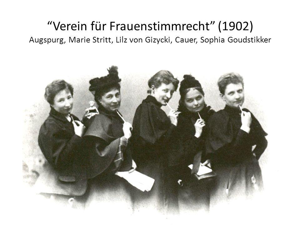 Verein für Frauenstimmrecht (1902) Augspurg, Marie Stritt, Lilz von Gizycki, Cauer, Sophia Goudstikker