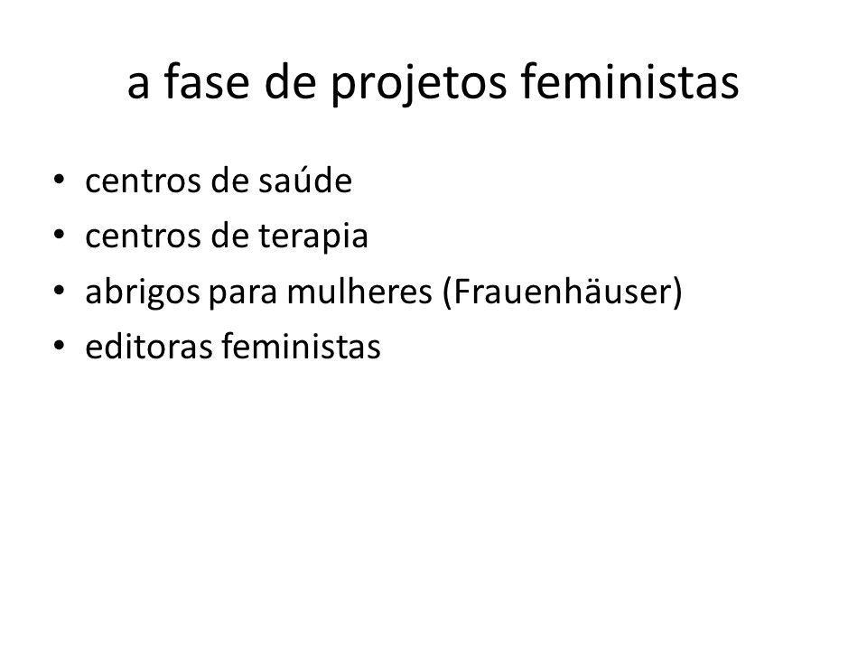 a fase de projetos feministas
