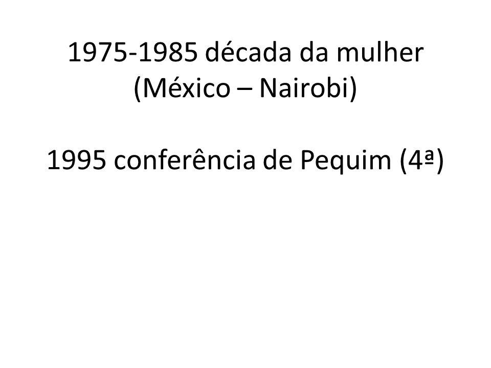 1975-1985 década da mulher (México – Nairobi) 1995 conferência de Pequim (4ª)