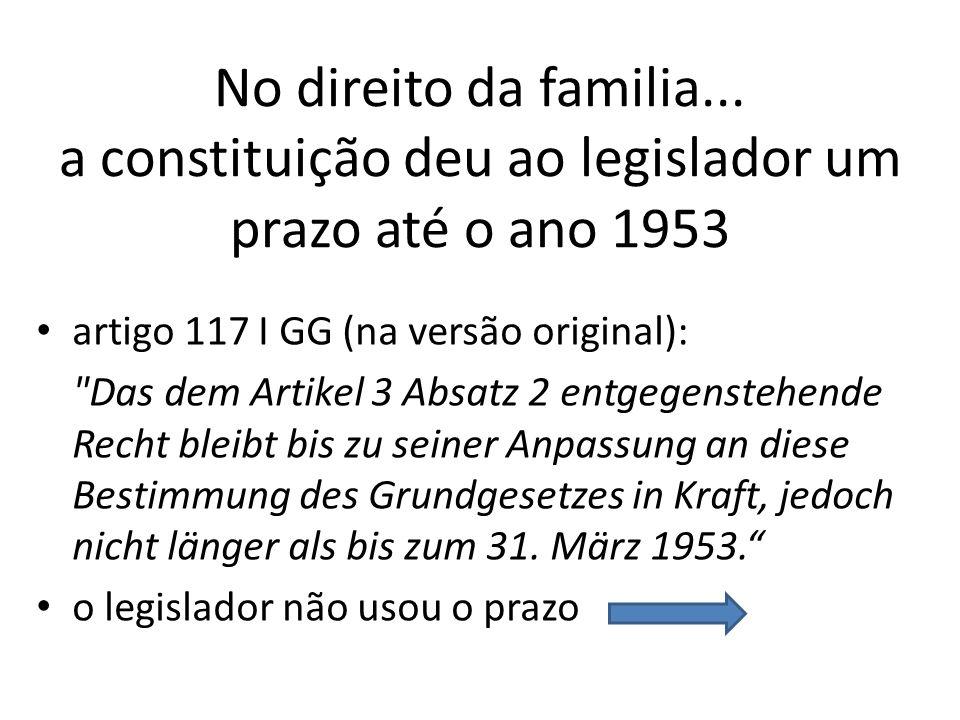 No direito da familia... a constituição deu ao legislador um prazo até o ano 1953