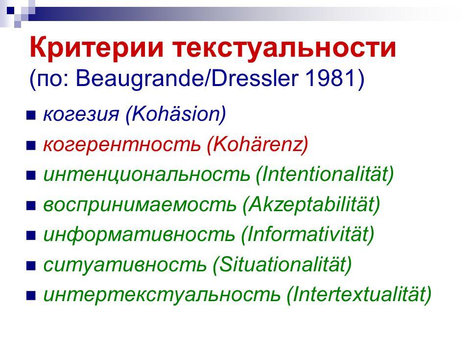 Критерии текстуальности (по: Beaugrande/Dressler 1981)