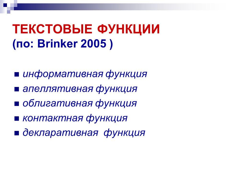 ТЕКСТОВЫЕ ФУНКЦИИ (по: Brinker 2005 )