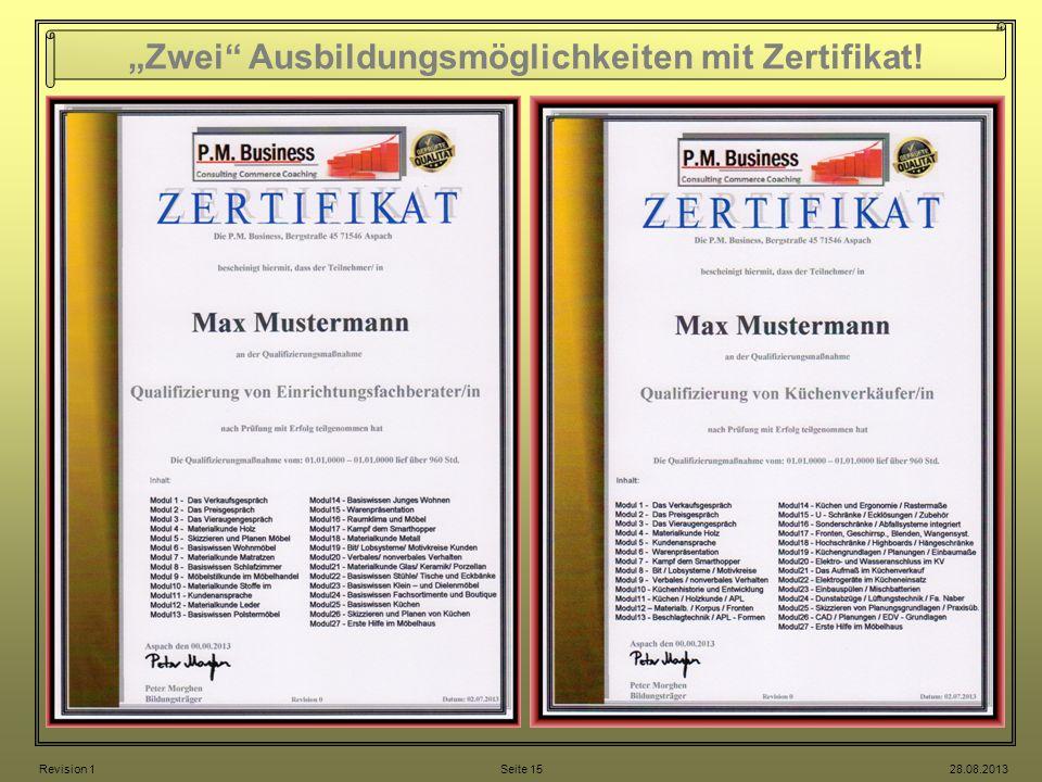 """""""Zwei Ausbildungsmöglichkeiten mit Zertifikat!"""